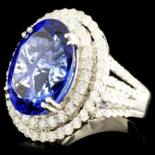 Lot 187: 18K Gold 11.05 Tanzanite & 1.77ctw Diamond Ring