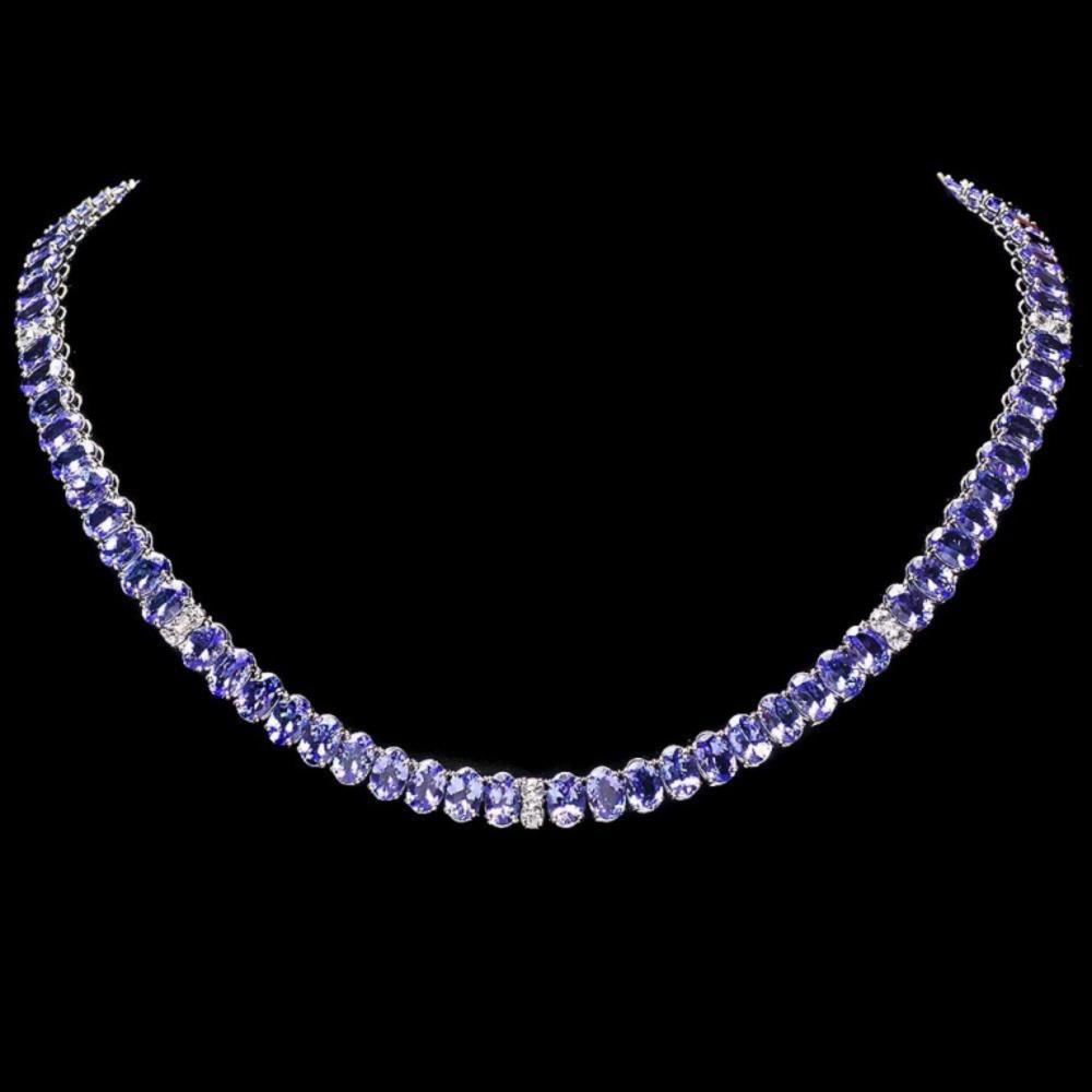 `14k Gold 55.00ct Tanzanite & 1.35ct Diamond Neckl