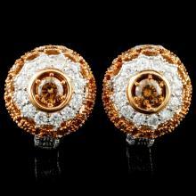 Lot 192: 14K Gold 1.01ctw Diamond Earrings
