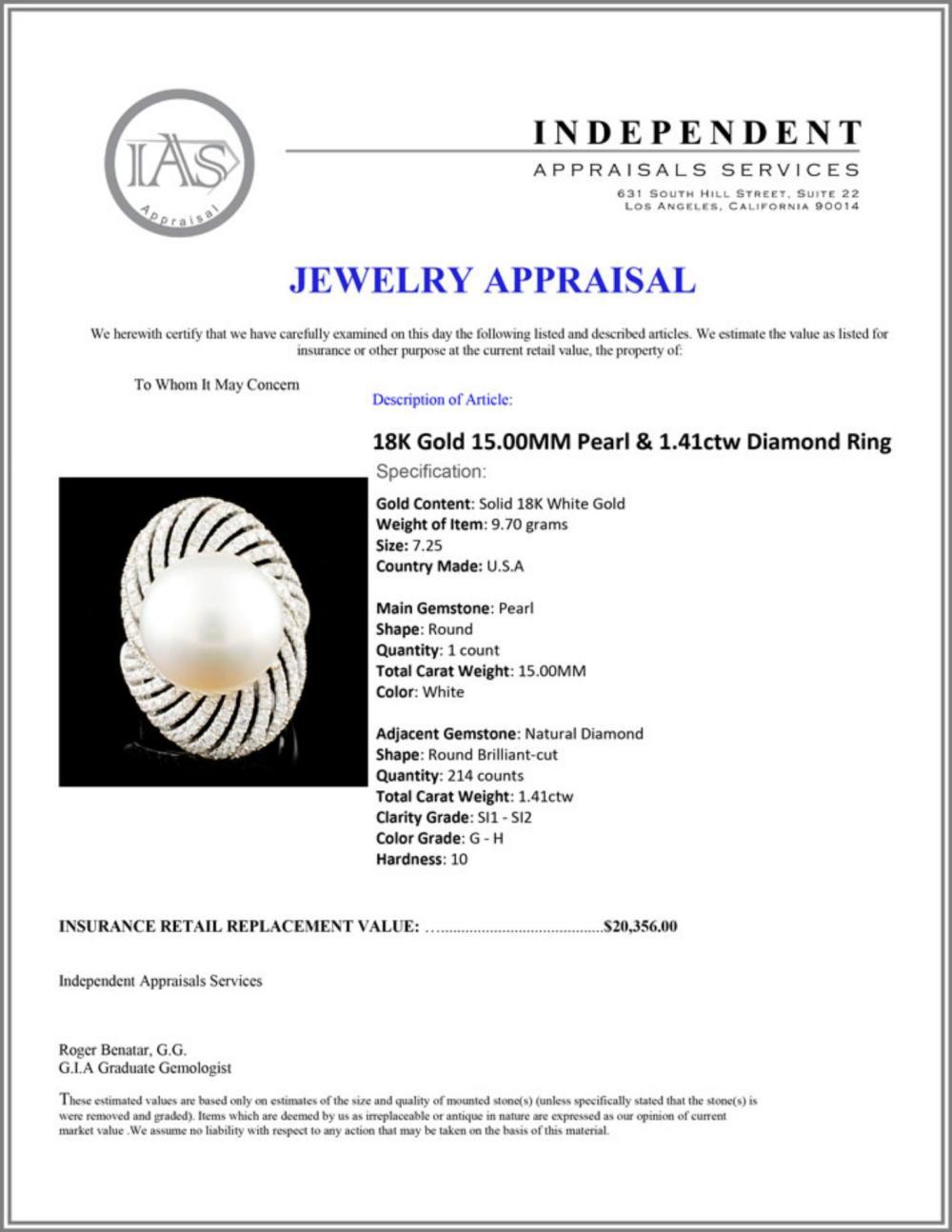Lot 193: 18K Gold 15.00MM Pearl & 1.41ctw Diamond Ring