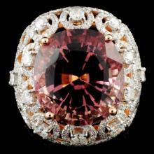 Lot 195: 18K Gold 17.17ct Tourmaline & 2.55ctw Diamond Ring