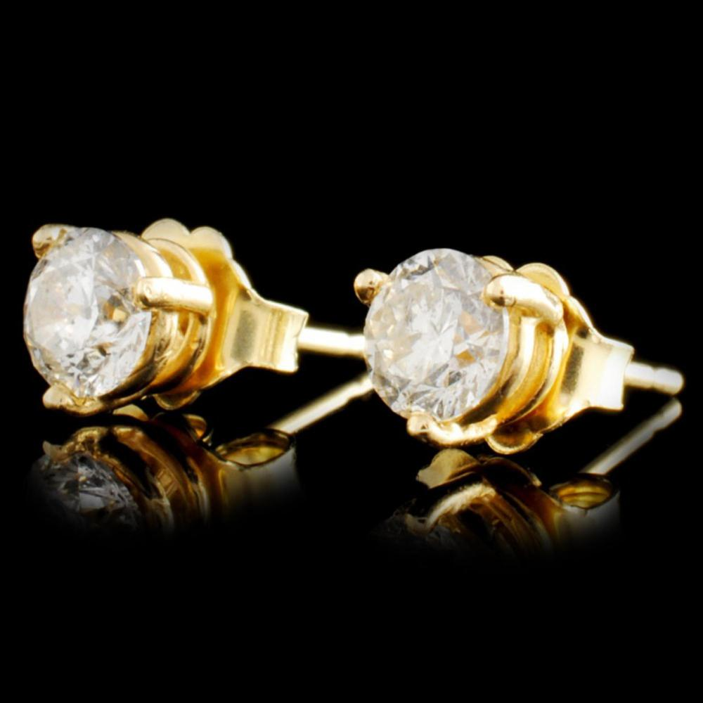Lot 196: 14K Gold 1.00ctw Diamond Earrings