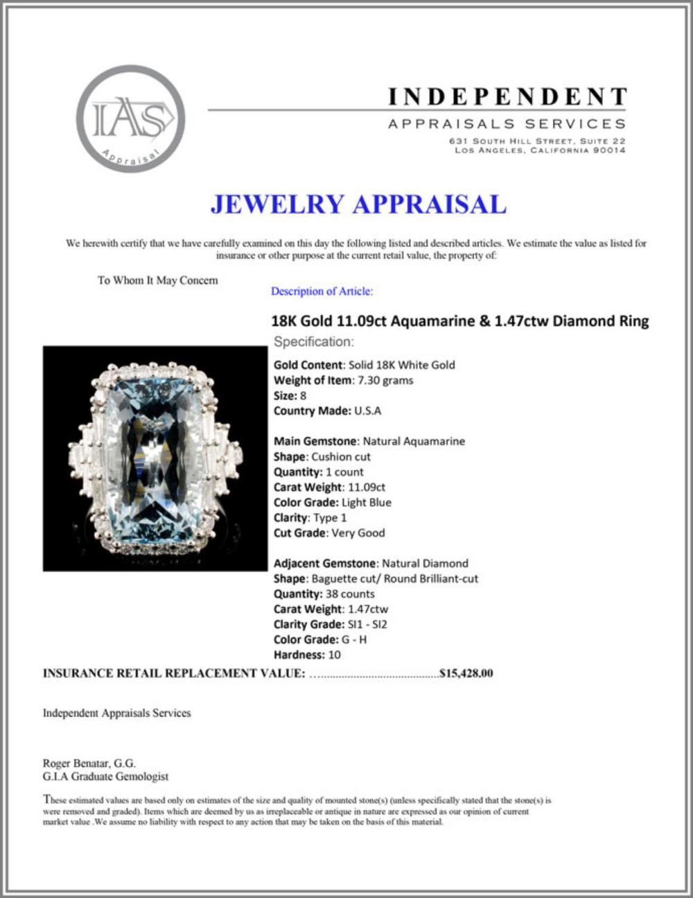 Lot 197: 18K Gold 11.09ct Aquamarine & 1.47ctw Diamond Ring