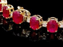 Lot 198: `14k Gold 45.00ct Ruby & 1.00ct Diamond Bracelet