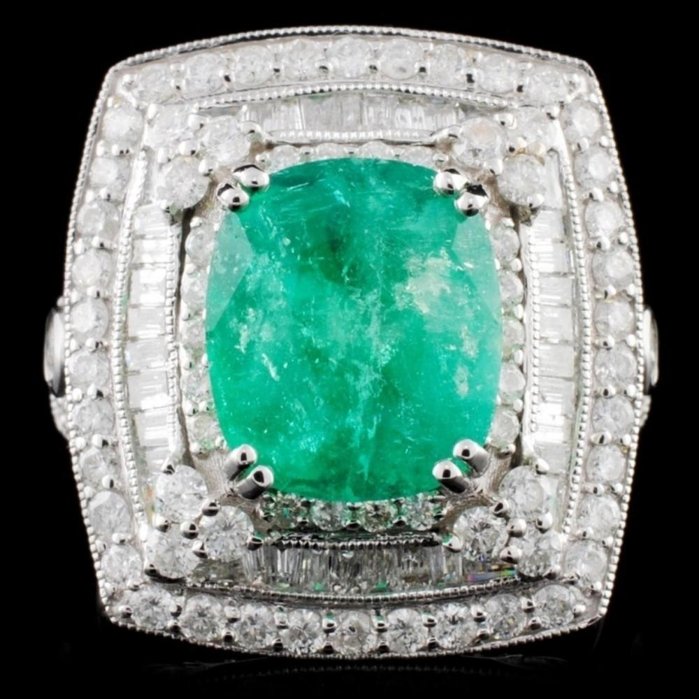 18K White Gold 3.24ct Emerald & 1.58ctw Diamond Ri