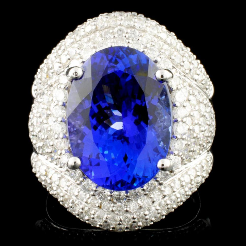 18K Gold 8.30ct Tanzanite & 2.18ctw Diamond Ring