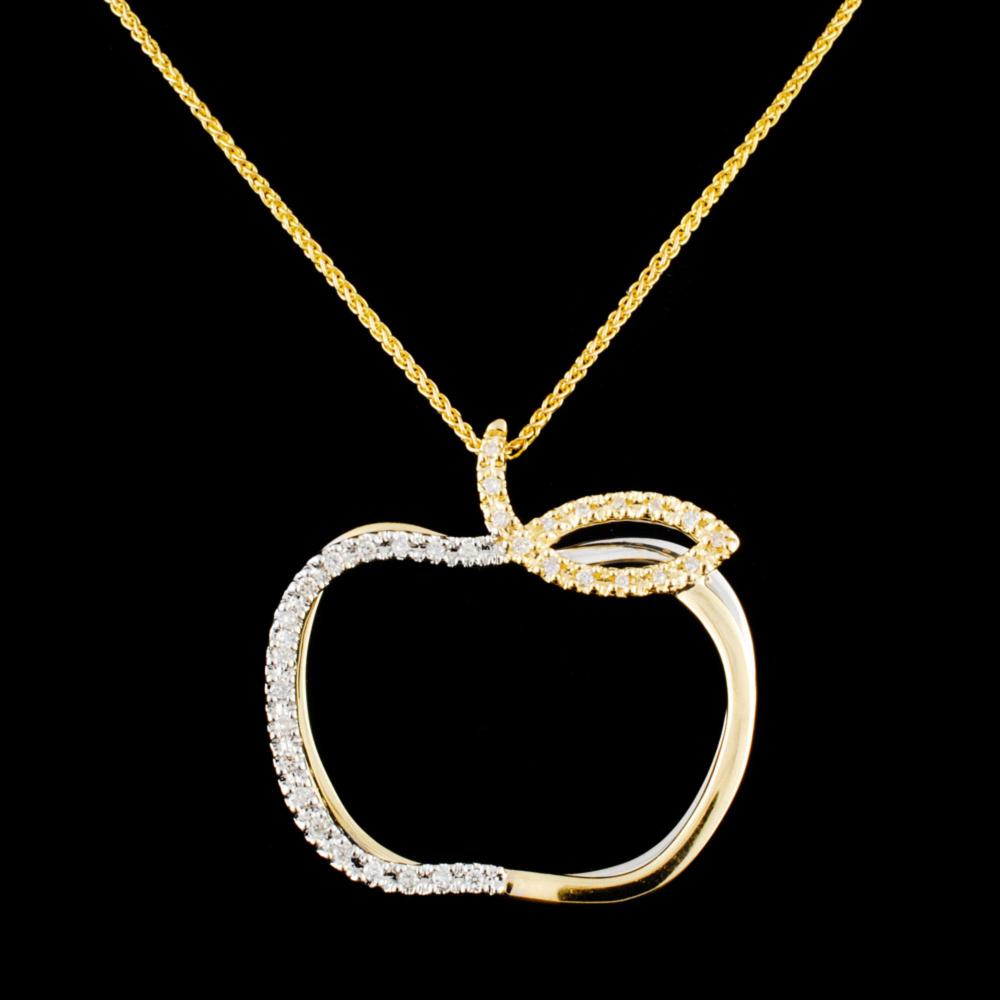 14K Gold 0.18ctw Diamond Pendant