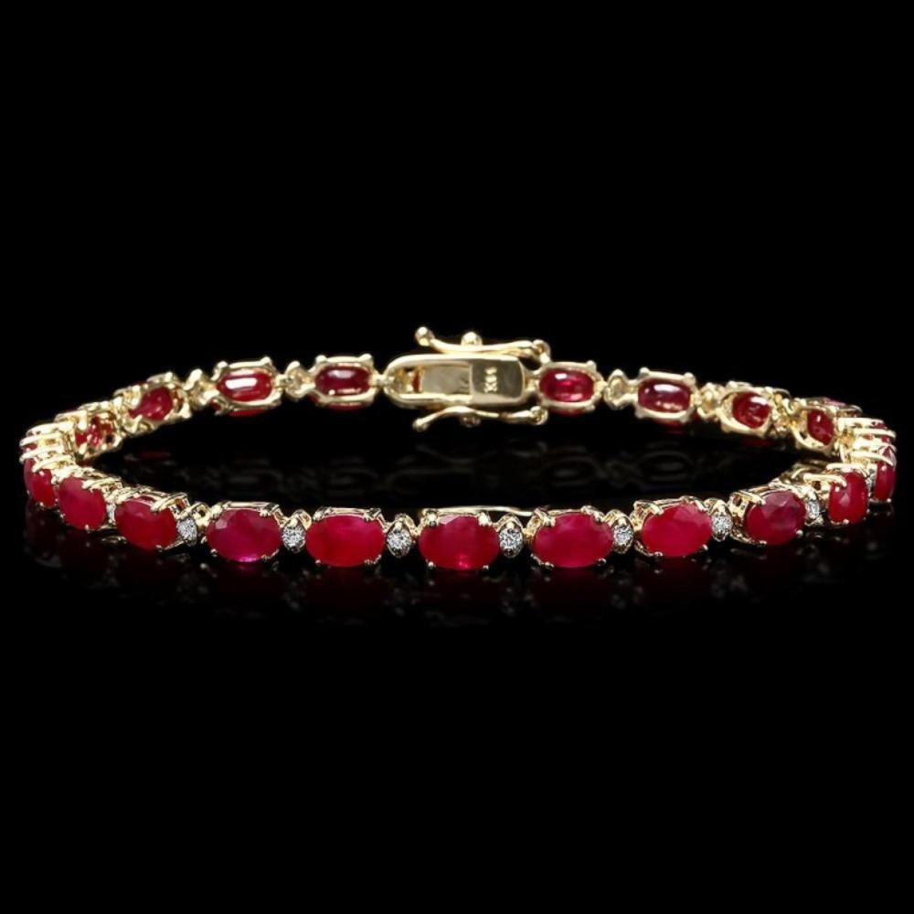 `14k Gold 12.00ct Ruby & 0.50ct Diamond Bracelet