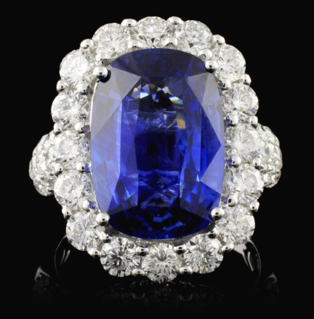 18K White Gold 8.52ct Sapphire & 2.70ct Diamond Ri