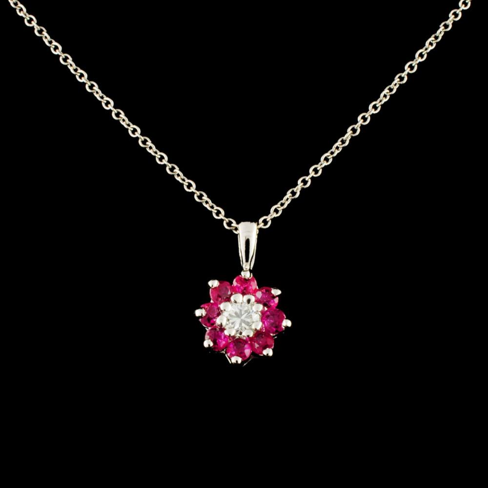 14K Gold 0.28ct Ruby & 0.10ctw Diamond Pendant