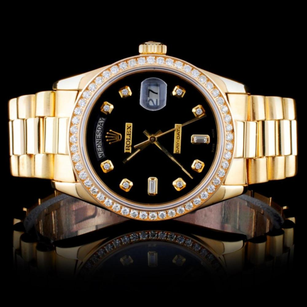 Rolex 18K YG 36MM Day-Date Diamond Watch