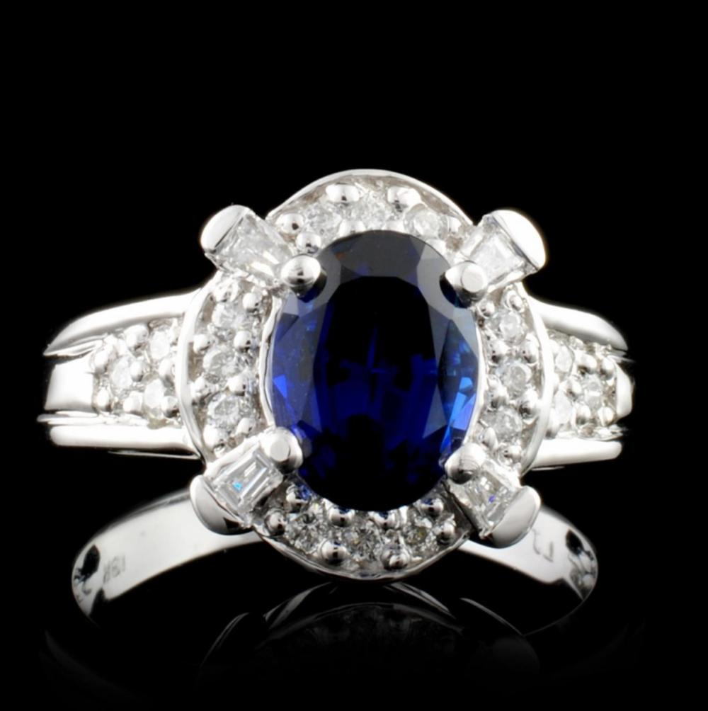 18K White Gold 2.09ct Sapphire & 0.38ct Diamond Ri