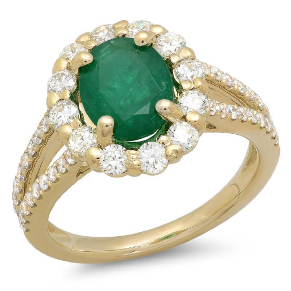 14K Gold 1.50ct Emerald & 1.00ct Diamond Ring