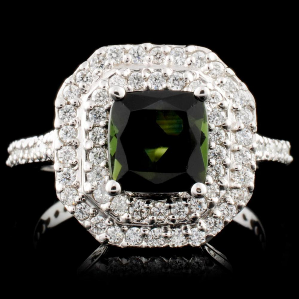 14K Gold 1.43ct Tourmaline & 0.64ctw Diamond Ring