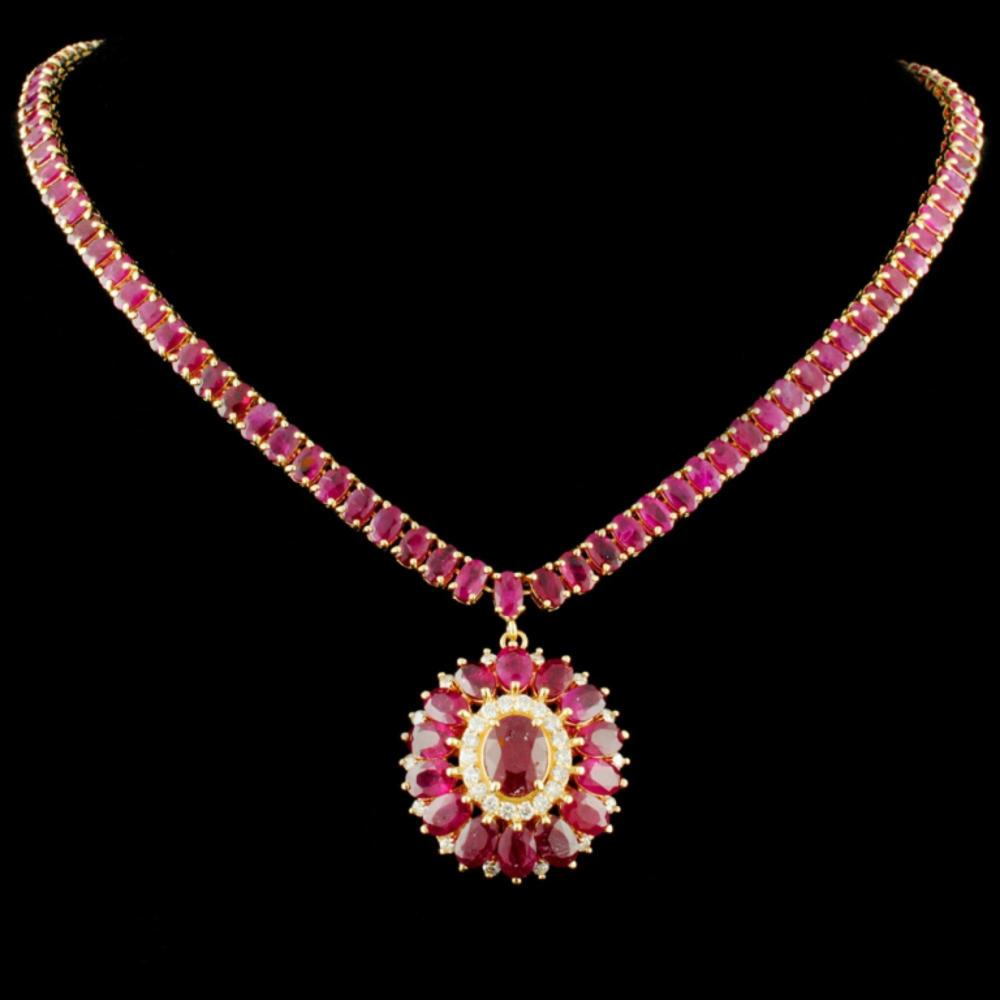 14K Gold 64.20ctw Ruby & 0.76ctw Diamond Necklace