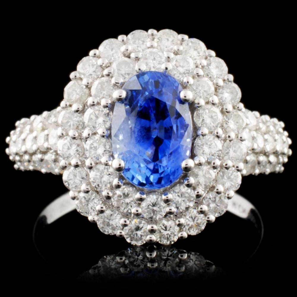 18K White Gold 1.90ct Sapphire & 1.33ct Diamond Ri