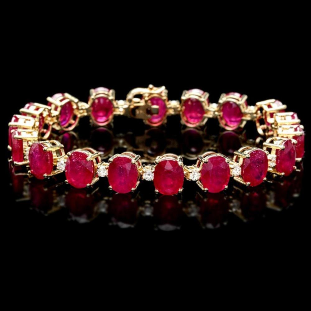 `14k Gold 45.00ct Ruby & 1.00ct Diamond Bracelet