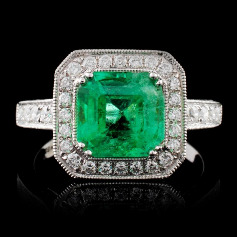 18K White Gold 1.99ct Emerald & 0.75ct Diamond Rin