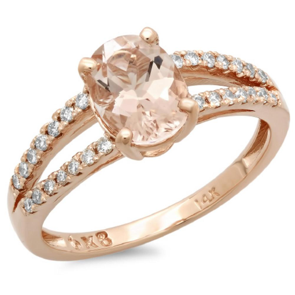 14K Gold 1.15ct Morganite & 0.25ct Diamond Ring