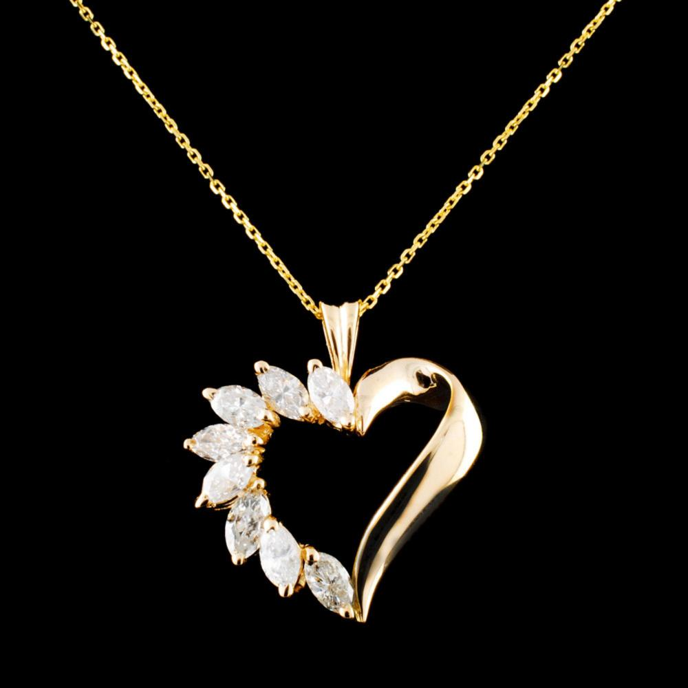 14K Gold 1.15ctw Diamond Pendant