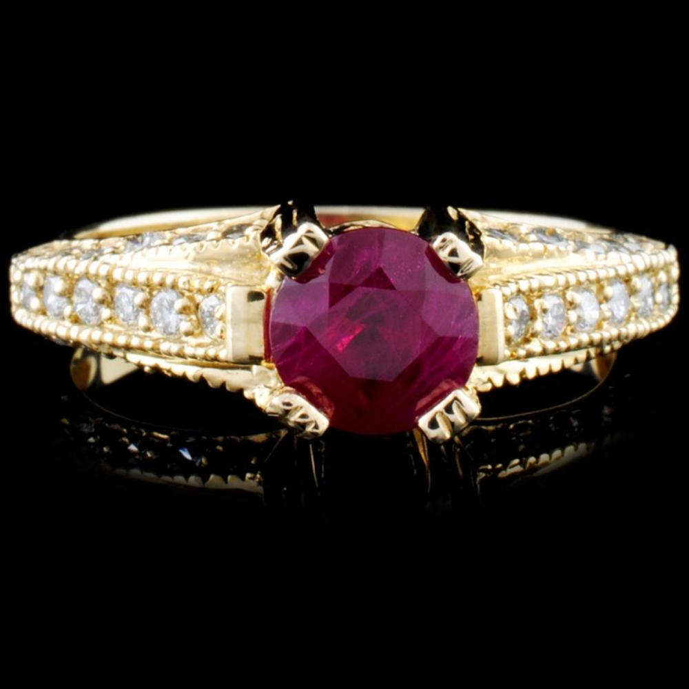 14K Gold 1.15ct Ruby & 0.53ctw Diamond Ring