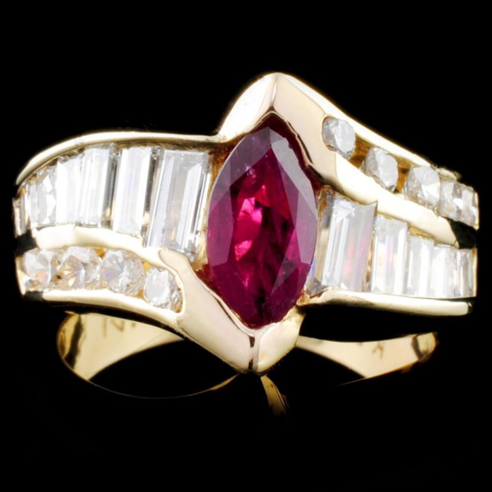 14K Gold 1.15ct Ruby & 1.63ctw Diamond Ring