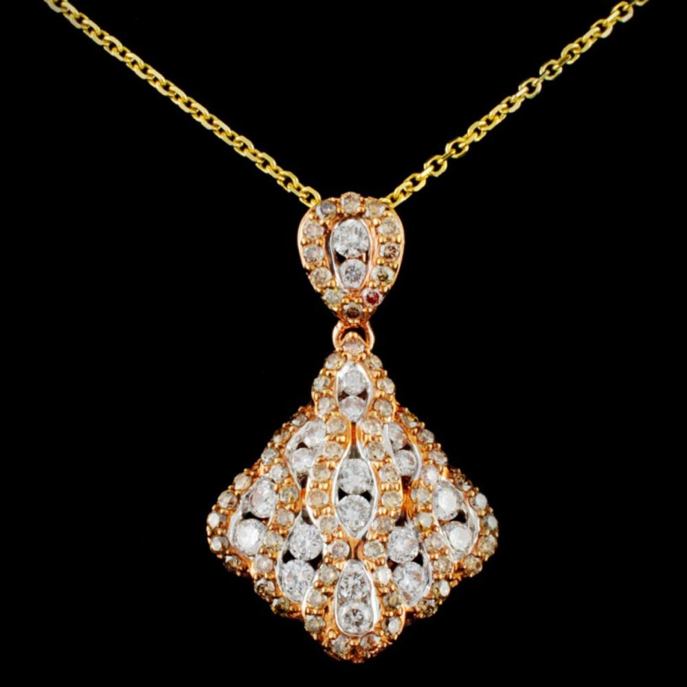 14K Gold 1.17ctw Fancy Diamond Pendant