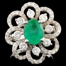 18K Gold 1.34ct Emerald & 1.22ctw Diamond Ring