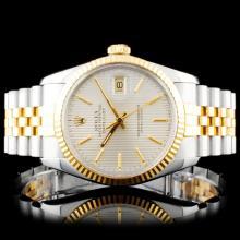 Rolex YG/SS DateJust 36mm Tapestry Wristwatch