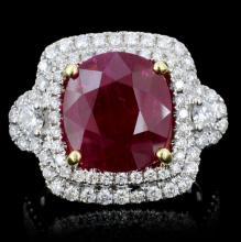 18K Gold 5.98ct Ruby & 1.10ct Diamond Ring