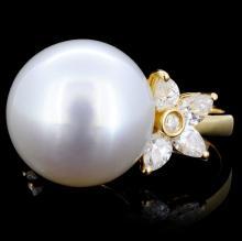 18K Gold 15mm South Sea Pearl & 1.24ct Diamond Rin
