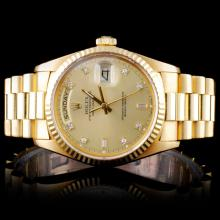 Rolex YG Day-Date Men's Diamond Wristwatch