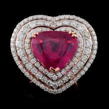 18K Rose Gold 7.17ct Ruby & 2.93ctw Diamond Ring
