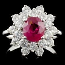 18K White Gold 1.67ct Ruby & 1.50ct Diamond Ring