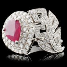 18K White Gold 1.29ct Ruby & 0.98ct Diamond Ring