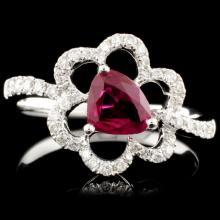 18K Gold 0.76ct Ruby & 0.27ctw Diamond Ring