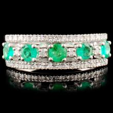 14K Gold 0.49ct Emerald & 0.18ctw Diamond Ring