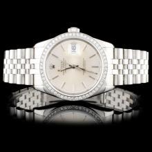 Rolex SS DateJust 1.00ct Diamond Wristwatch