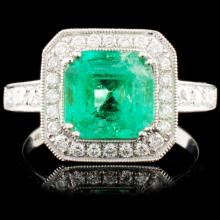 18K Gold 1.99ct Emerald & 0.75ctw Diamond Ring