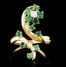 18K Gold 1.35ct Emerald & 0.10ctw Diamond Ring