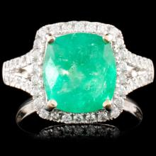 18K Gold 3.45ct Emerald & 0.54ctw Diamond Ring