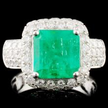 18K Gold 3.07ct Emerald & 2.29ctw Diamond Ring