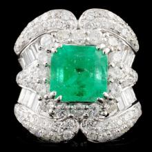 18K Gold 3.16ct Emerald & 2.95ctw Diamond Ring