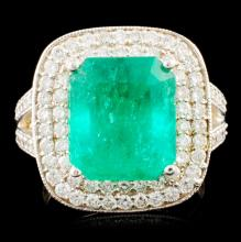 18K Gold 5.50ct Emerald & 1.09ctw Diamond Ring