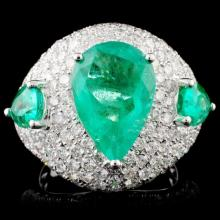 18K Gold 5.07ct Emerald & 2.52ct Diamond Ring