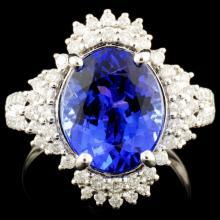 18K Gold 5.03ct Tanzanite & 0.52ctw Diamond Ring