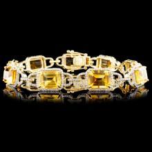 14K Gold 16.82ctw Citrine & 1.55ctw Diamond Bracel