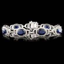 14K Gold 12.65ctw Sapphire & 2.65ctw Diamond Brace