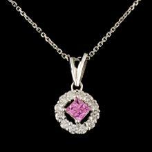18K Gold 0.22ctw Sapphire & 0.44ctw Diamond Pendan