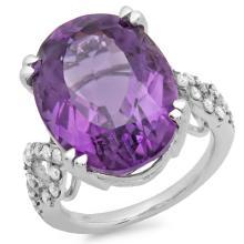 14K Gold 15.00ct Amethyst & 0.50ct Diamond Ring